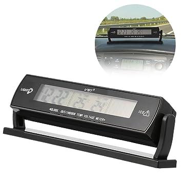 Termómetro automático de Temperatura del automóvil, 12V 24V 2 en 1 Termómetro de Reloj del medidor de Voltaje del automóvil con Soporte, Pantalla LCD: ...