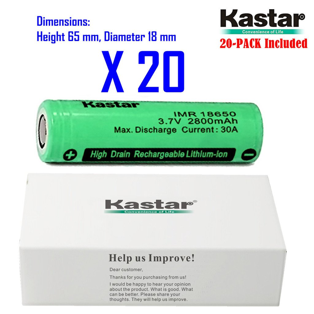 Kastar IMR18650 (20 Pack) High Drain Lithium-ion Battery (30A Max. current load) 3.6V 2800mAh Rechargeable Flat Top Battery for Electric Tools, Toys, LED Flashlights and Torch ect.