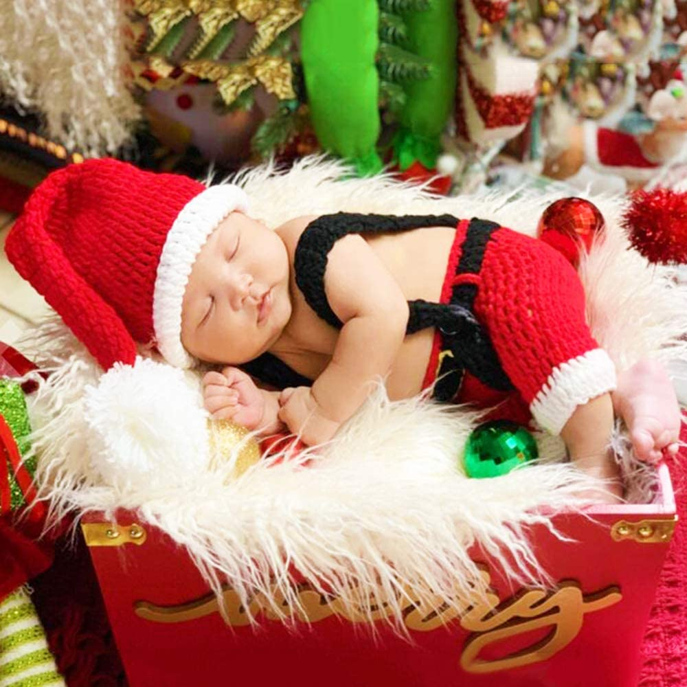 baby girl christmas photo prop newborn baby girl first christmas outfit newborn girl outfit christmas Crochet mrs clause outfit santa