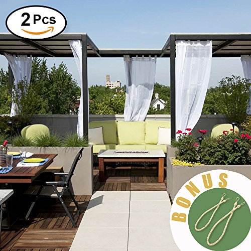NICETOWN Sheer Outdoor Curtain Panel - Elegant Tab Top Waterproof Voile Curtains Drapes for Porch/Patio with Bonus Rope Tiebacks (Set of 2, 54 Inch by 84 Inch, White) (Voile Tab Top Curtain Panel)