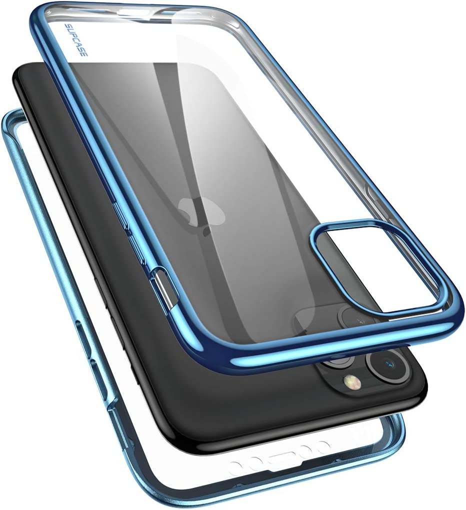 SUPCASE [Unicorn Beetle Electro Series] Designed for Apple iPhone 11 Pro Max 2019 6.5 inch Case, Metallic Electroplated Edges, Slim Full-Body Protective Case with Built-in Screen Protector (Blue)