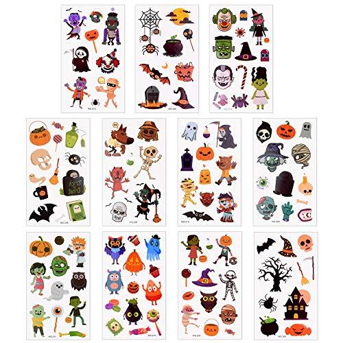Cute Halloween Tattoo Flash (TUPARKA 400 Pcs Halloween Temporary Tattoo Cartoon Sticker Tattoo for Kids Boys Girls Halloween Party)