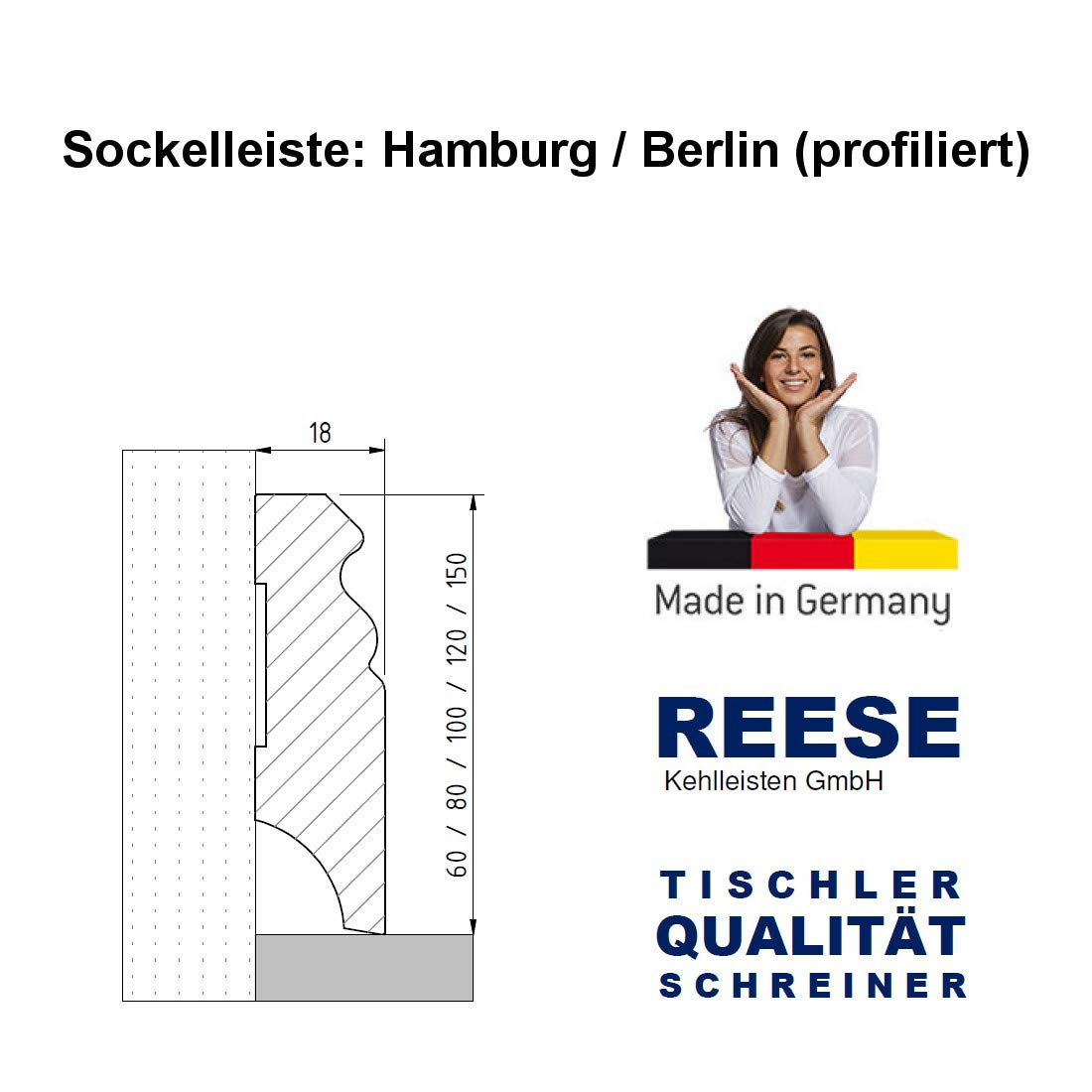 80mm H/öhe, 20 St/ück // 44lfm Wei/ße Sockelleisten Alt-Berliner Profil MDF Folie 60//80//100//120mm SPARPAKET