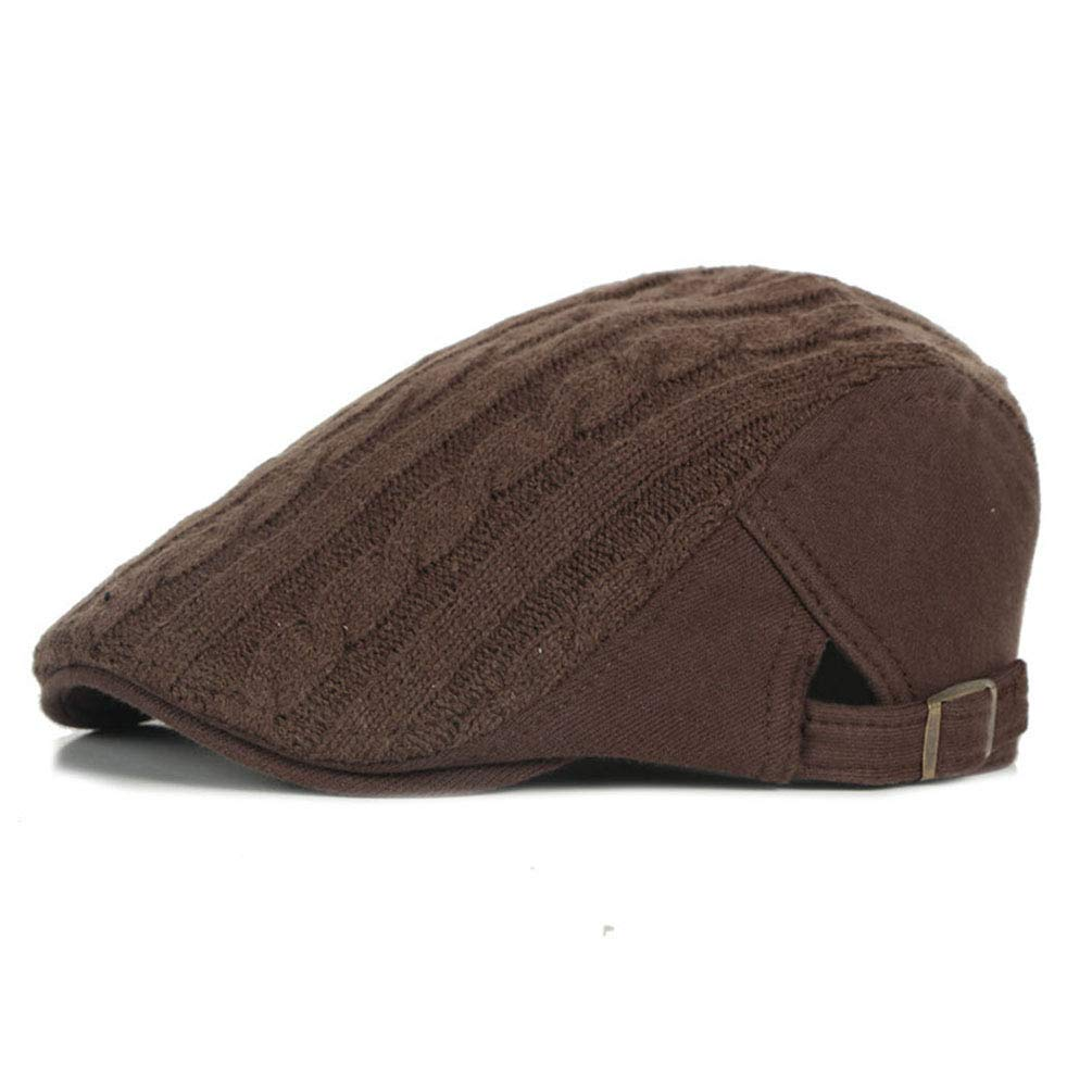 Mens Cable-Knit Newsboy Cap Winter Warm Adjustable Gatsby Hat Irish Ivy Flat Cap