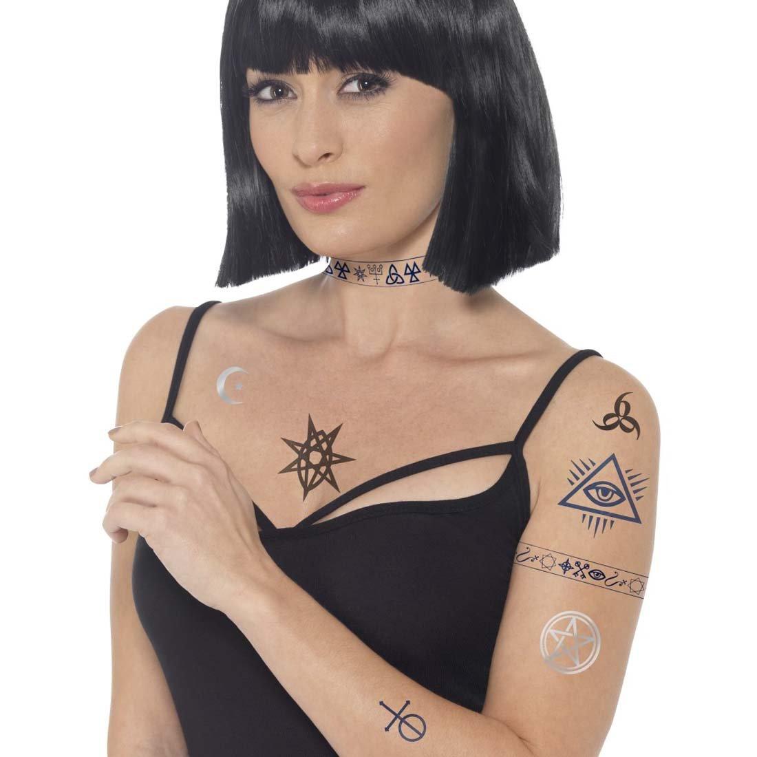 NET TOYS Set Tatuaje Demonio Adhesivos místicos Tatuajes Temporal ...