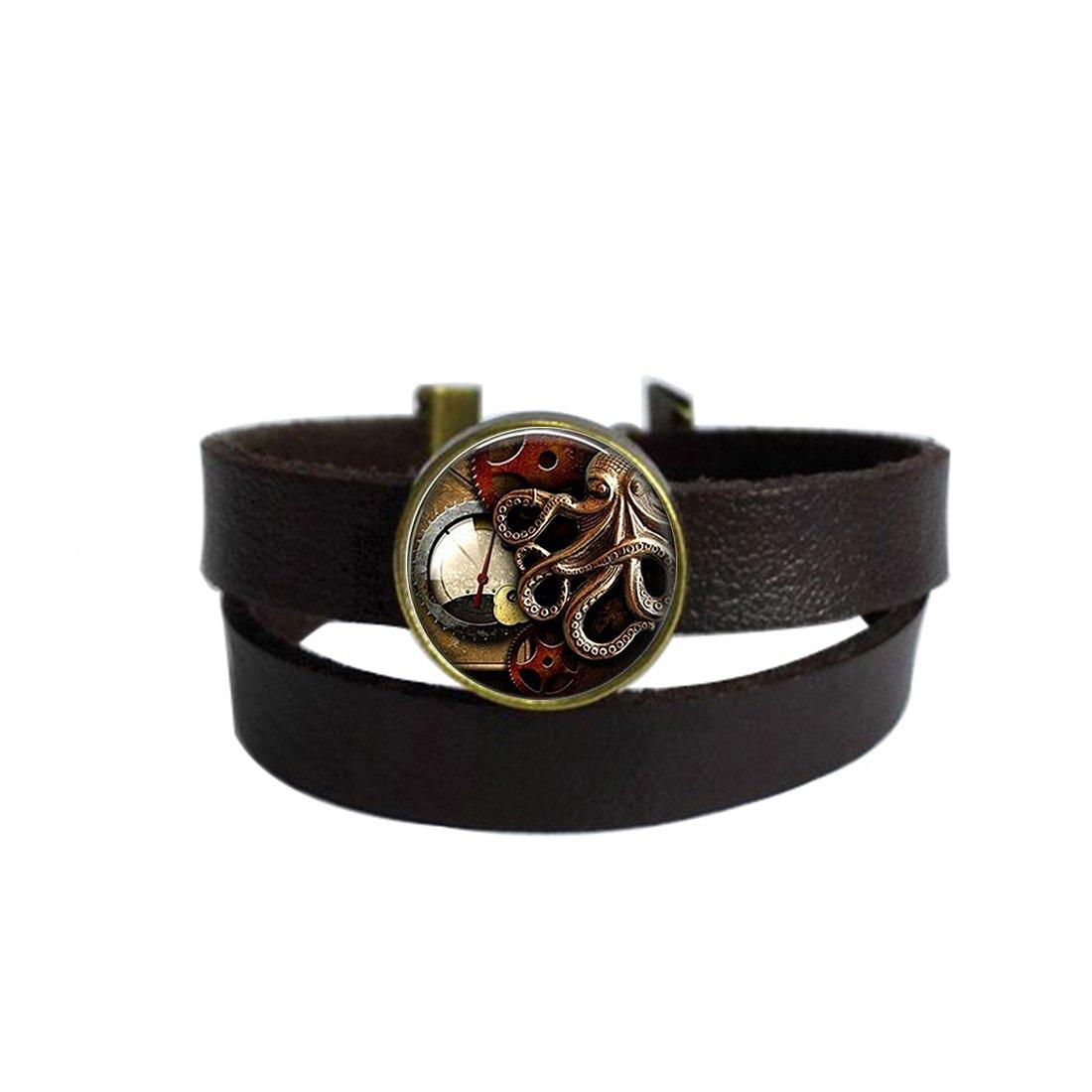 LooPoP Vintage Punk Dark Brown Leather Bracelet Octopus Clock Steampunk Belt Wrap Cuff Bangle Adjustable
