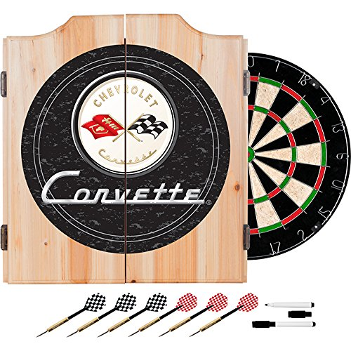 Corvette C1 Black Design Deluxe Wood Cabinet Complete Dart Set by TMG