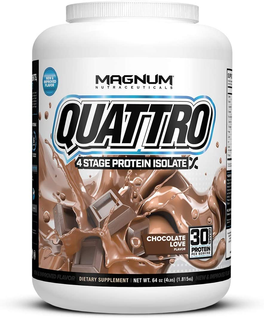 Magnum Nutraceuticals New and Improved Quattro Chocolate Love Pure Protein Isolate Powder 4lbs.