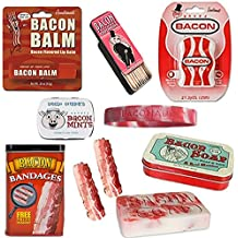 Deluxe Bacon Bath & Grooming Kit Gift Pack (6pc Set + Wristband) - Bacon Bandages, Dental Floss, Soap, Toothpicks, Breath Mints & Lip Balm + Silicone Wristband