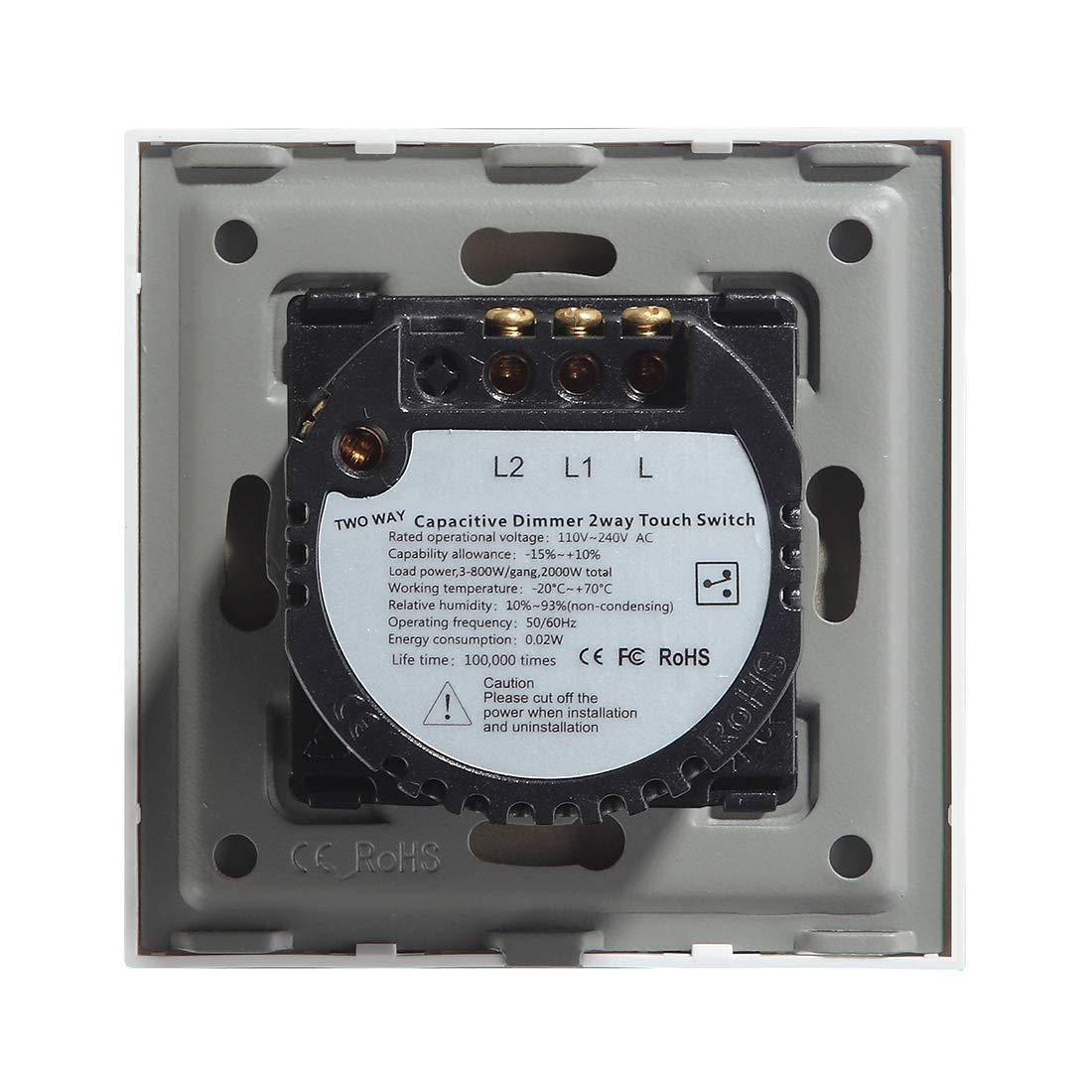 BSEED Interruptor de pared t/áctil de 86 mm Panel de vidrio InterruptorTemplado inteligentes 1 Gang 1 Way 110V 250V Black