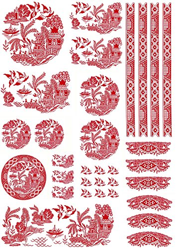 Red Willow Oriental Pagoda Boat Birds Scene R543 Waterslide Ceramic Decals by The Sheet Select-A-Size (Full Sheet)