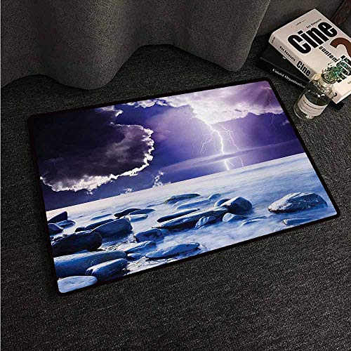 HCCJLCKS Bedroom Doormat Nature Dark Ominous Rain Clouds with Mystic Sky Scenery with Electrical Thunder Photo Machine wash/Non-Slip W31 xL47 Blue Purple