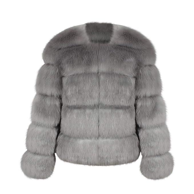ZODOF Abrigo cálido de Mujer de Invierno Chaqueta de Abrigo de Piel sintética de Las señoras Calientes de Las Mujeres Solid Parka Prendas de Vestir ...