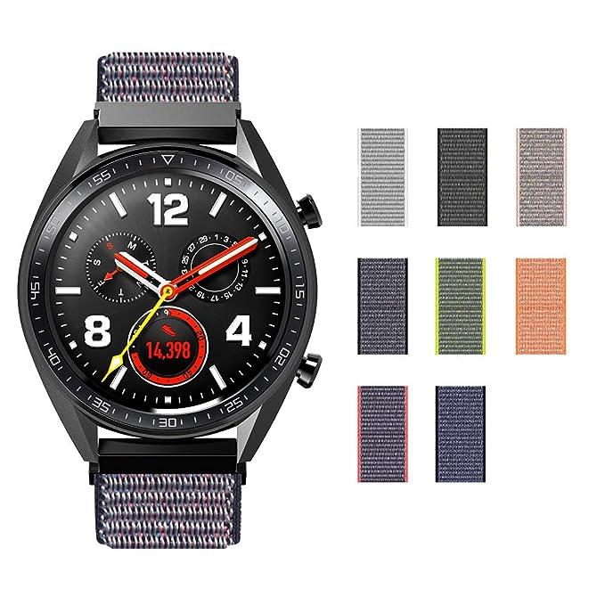 Sikai Tejido Nylon Deporte Loop Banda 20 mm/22 mm Universal Correa de Nailon de Repuesto para Smartwatch Transpirable Ligero con Cierre de Gancho y ...