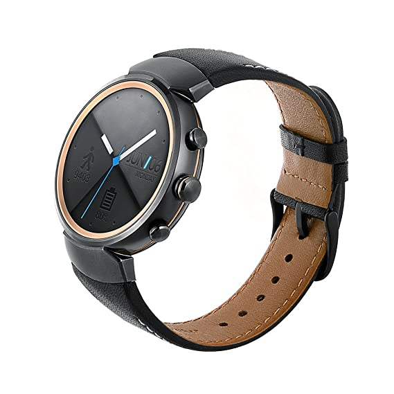 Smart watch band for ASUS ZenWatch 3 ,top layer cow leather strap Replacement Watchband with Secure Metal Clasp Buckle for ASUS ZenWatch 3 (Black)