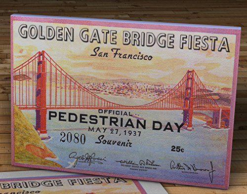 1937 Vintage San Francisco Golden Gate Bridge Fiesta Ticket - Pedestrian Day - Canvas Gallery Wrap - 16 x 10