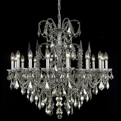 Athena 16 Light Chandelier Finish / Crystal Color / Crystal Trim: Pewter / Golden Teak (Smoky) / Royal Cut -