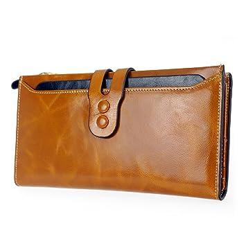 sakutane Unisex tipo cartera de piel auténtica con cremallera monedero para hombre bolso de mano para hombre: Amazon.es: Equipaje