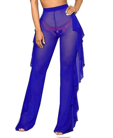 fe69c264cb856b Women Perspective Sheer Mesh Casual Pants Bikini Bottom Cover Up Long  Trousers (Blue, S