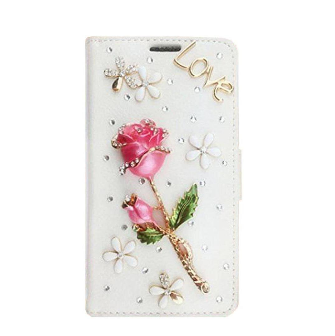 Mixneer Samsung Galaxy Note 4 Case, Luxury 3D Handmade Glitter Wallet Cover with Card Slot Kickstand Floral Bling Diamond Flip Leather Case for Samsung Galaxy Note 4 - Champagne
