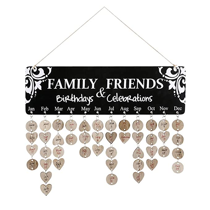 Joy-Leo Black Family Friends Birthday & Celebration Reminder Plaque Calendar Wall Handing [100 Wood Tags & 100 Jump Rings], Family Birthday Tracker Calendar Sticker on Particle Board for Home Décor
