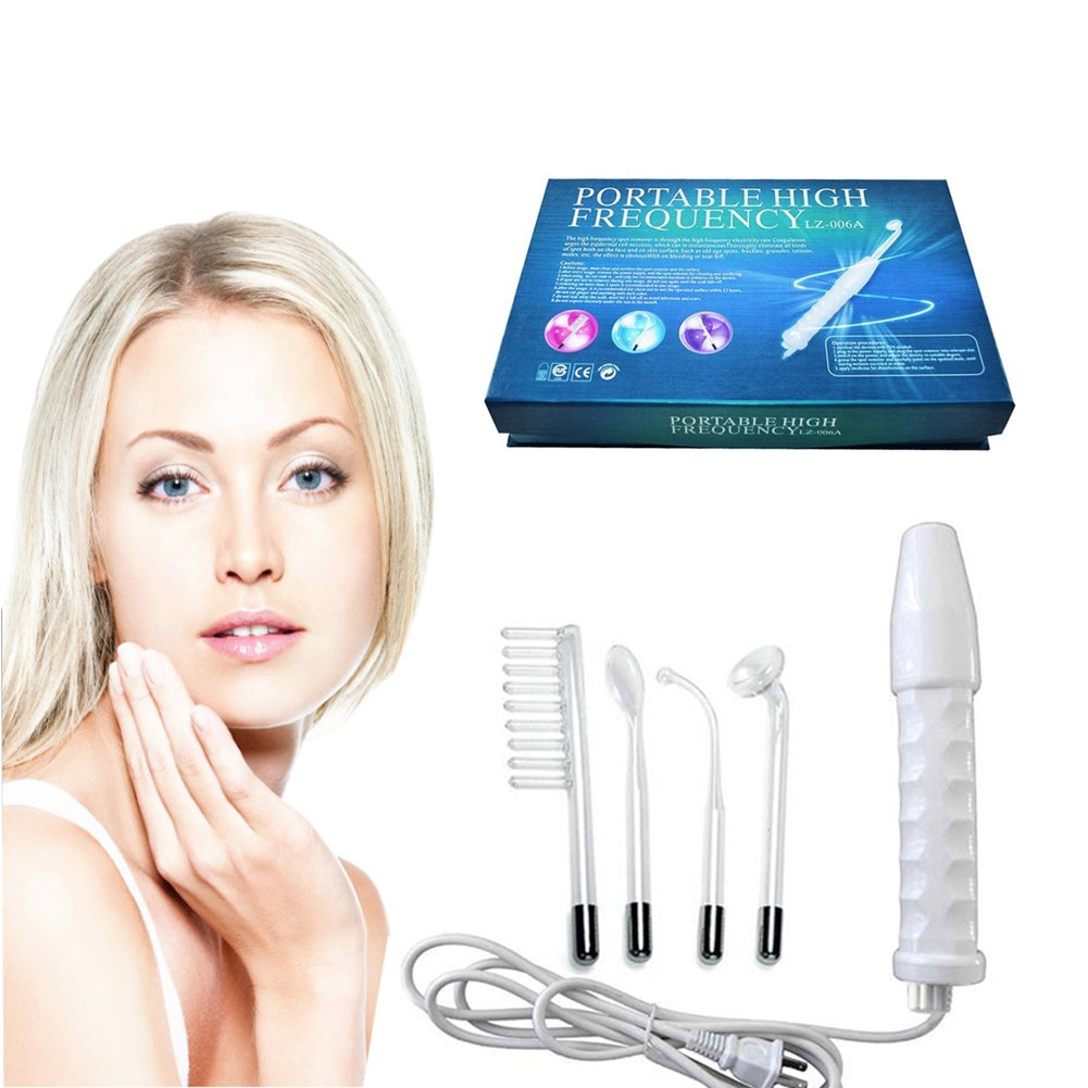 SGDOLL High Frequency Facial Machine, Portable Handheld High Frequency Wand Skin Tightening Acne Spot Wrinkles Remover Beauty Therapy Puffy Eyes Body Care Facial Machine