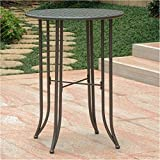 BOWERY HILL Round Patio Pub Table in Matte Brown