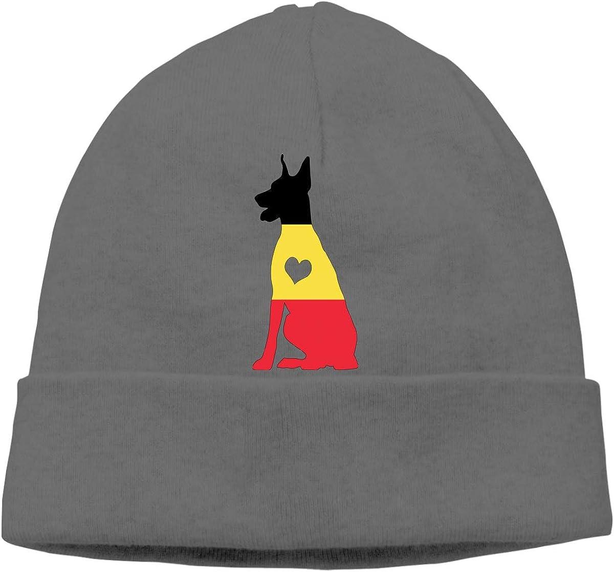 BF5Y3z/&MA Belgium Flag Adore Dobermans Dog Beanie Hat for Men Women,Daily Hedging Cap Ski Cap