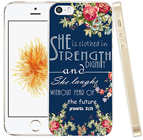 (5C Case Bible Saying,Hungo Soft Cover Case Compatible for iPhone 5C Christian Verses Isaiah Songs She is Clothed in Strength and Dignity and She Laughs Without Fear of The Future)