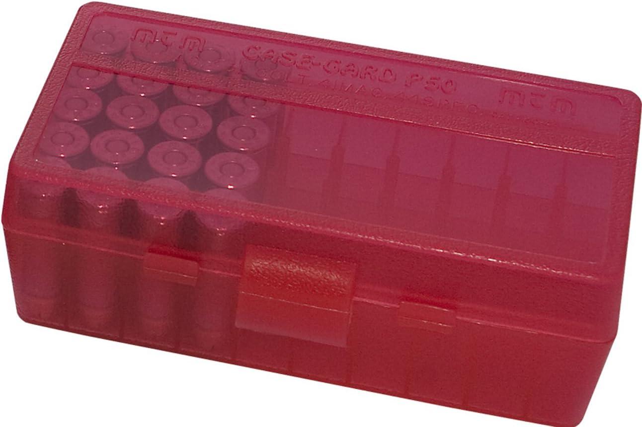 MTM 38/357 Cal 50 Caja de munición redonda con tapa abatible