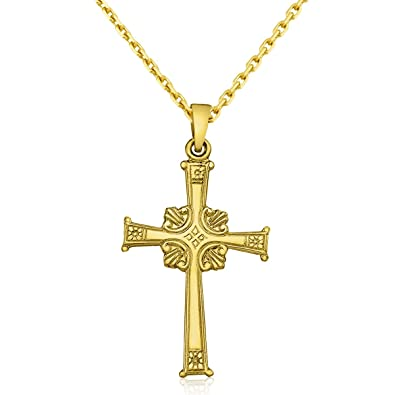 Amazon 14k yellow gold greek cross pendant with 18 chain jewelry 14k yellow gold greek cross pendant with 18quot mozeypictures Choice Image