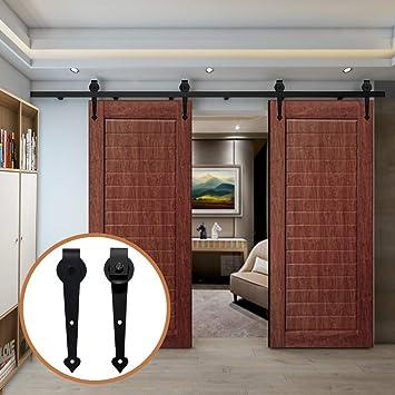 LWZH kit de herramientas para puerta corrediza de granero de 8,2 pies para perchas de doble puerta con forma de corazón negro (cada puerta mide 24,6 pulgadas): Amazon.es: Bricolaje y herramientas