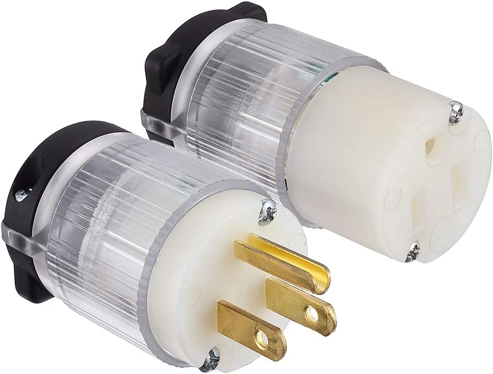 Miady Extension Cord Ends (With lighted), 15 Amp 125 Volt NEMA 5-15, 2Pole 3Wire, Electric Plug Replacement, UL listed