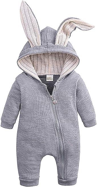 Baby Kids Boys Girls Warm Hooded Long Sleeve Romper Jumpsuit Bodysuit Clothes