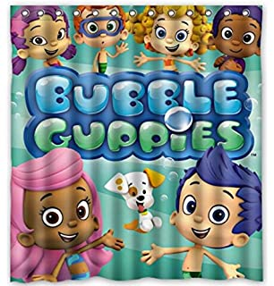 Genial Custom Cartoon Bubble Guppies Pattern Waterproof Bathroom Shower Curtain  100% Polyester Fabric Shower Curtain Standard