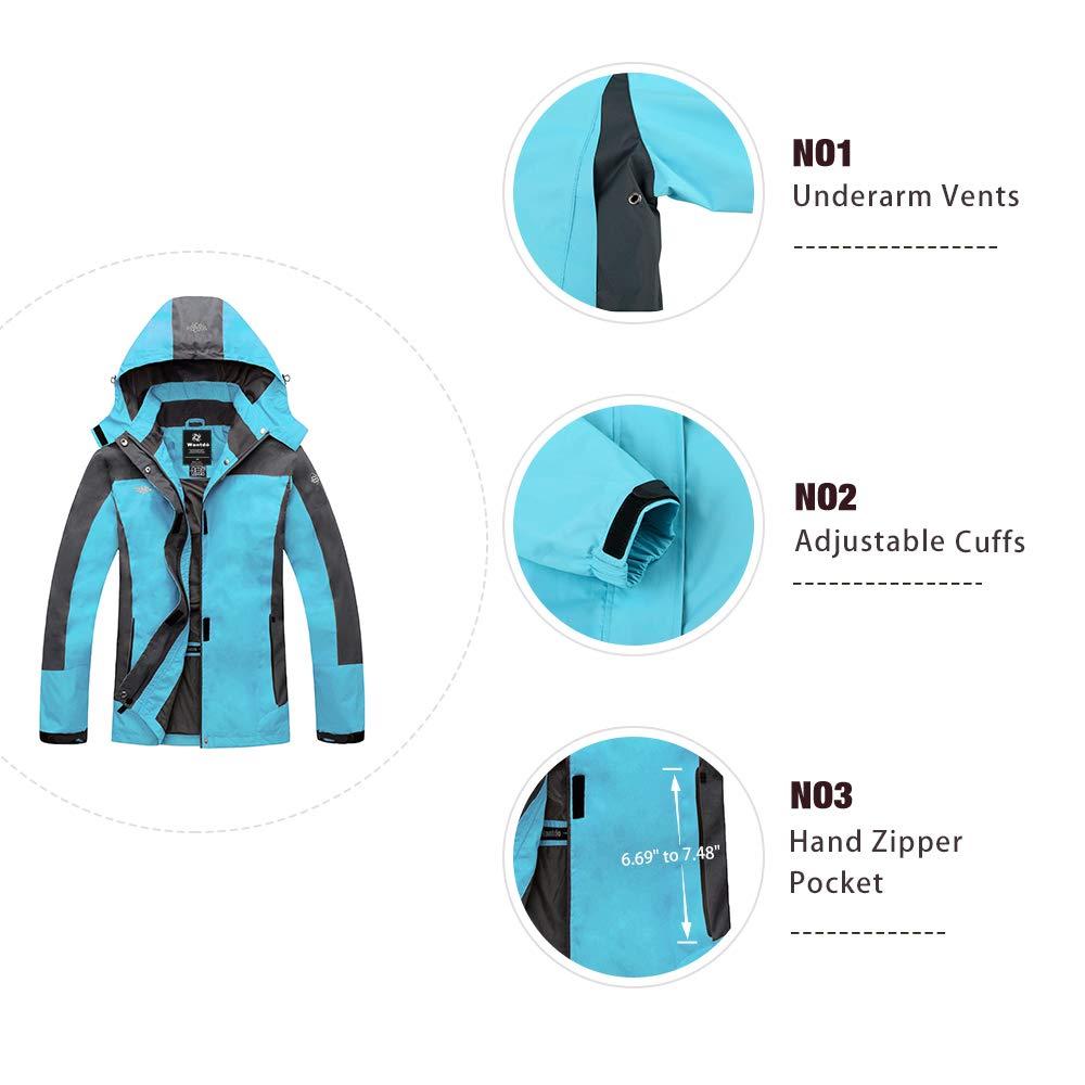 Wantdo Mujer de Senderismo de Ropa con Capucha Resistente al Viento Chaqueta Impermeable Capa de Lluvia - Azul -: Amazon.es: Ropa y accesorios
