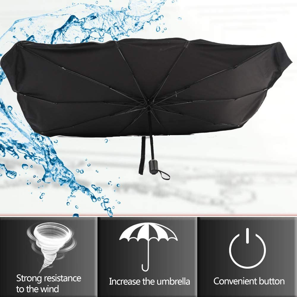 Fit Most Vehicle Keep Your Vehicle Cool Damage Free Foldable and Car Window Sunshade UPD50+ standard materia Blocks 99/%UV Rays Protection 53 x 32 inch Large Car Windshield Sun Shade Umbrella