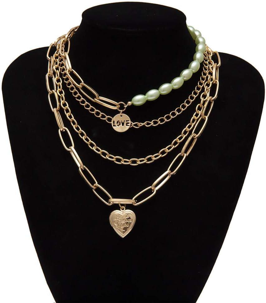 HNJing Collar gótico Collar de Gargantilla de Perlas de imitación Champagn gótico de múltiples Capas Collares Amor Corazón Colgante Collar Festival Joyería para Mujeres