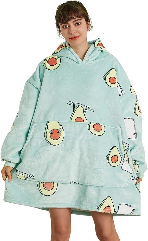 Sherpa Wearable Hooded Blanket Unisex IvyH Oversized Hoodie Blanket Sweatshirt