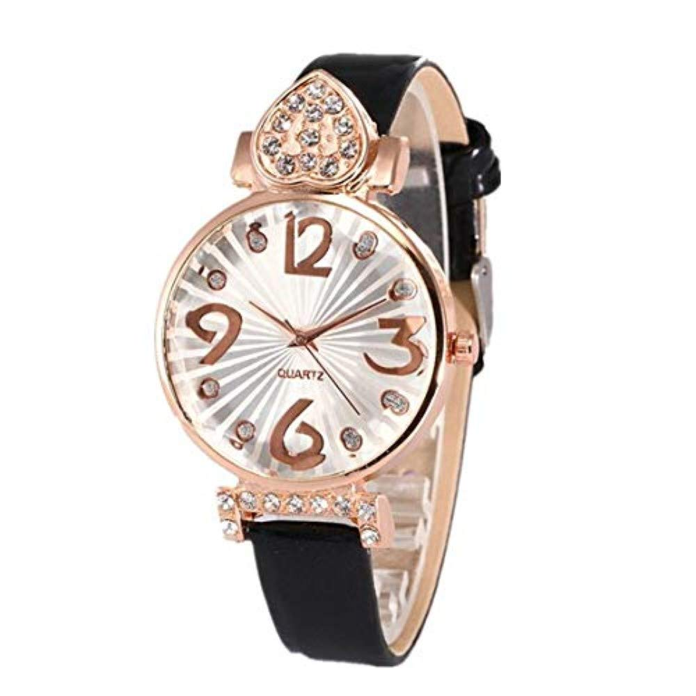 Amazon.com: Frunalte watch, Womens Casual Luxury Fashion PU Leather Strap Analog Quartz Round Watch Clearance on Sale: Watches