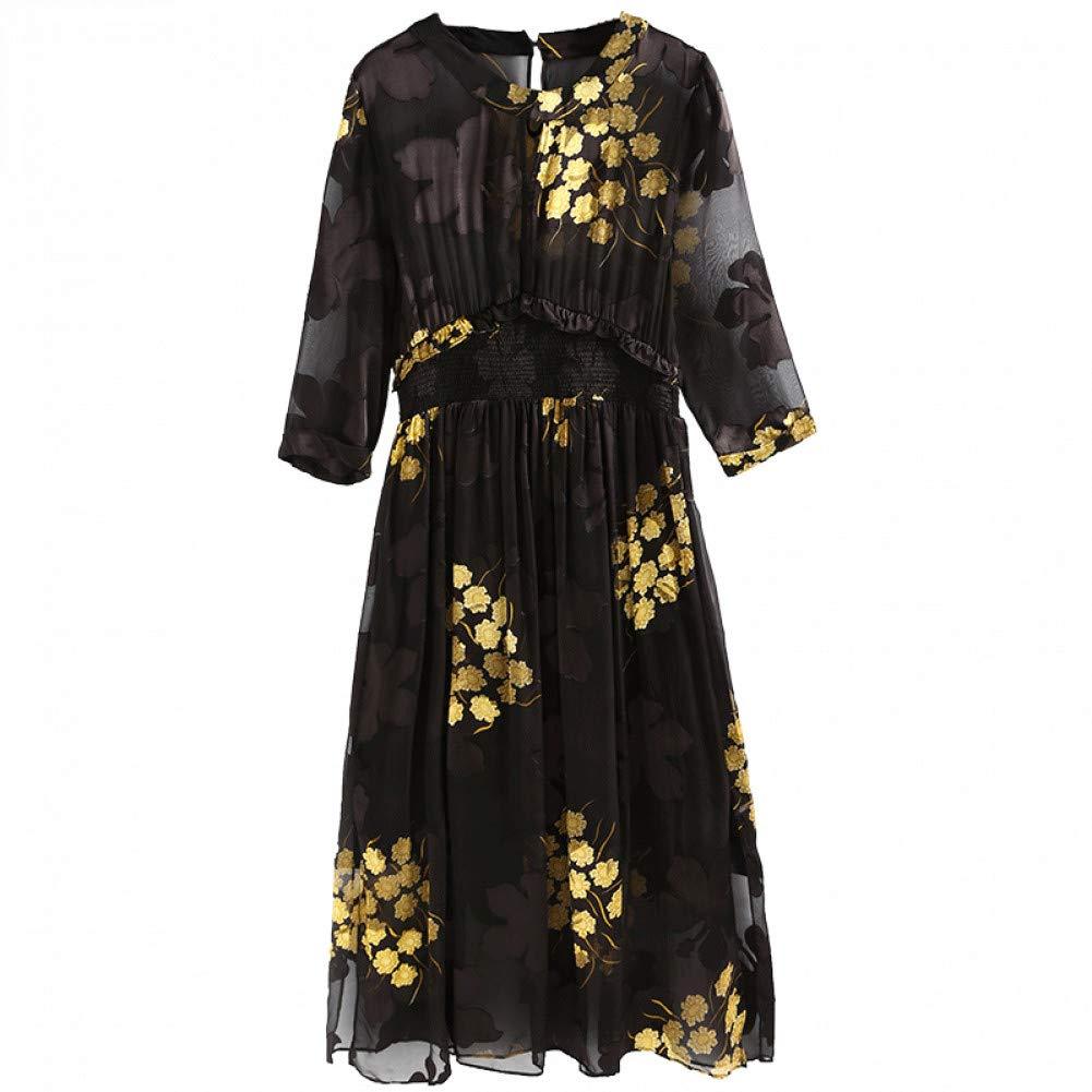 L BINGQZ Silk Jacquard Dress Female Summer New Gentle Dress Super Fairy Waist Thin Black Autumn Long Skirt