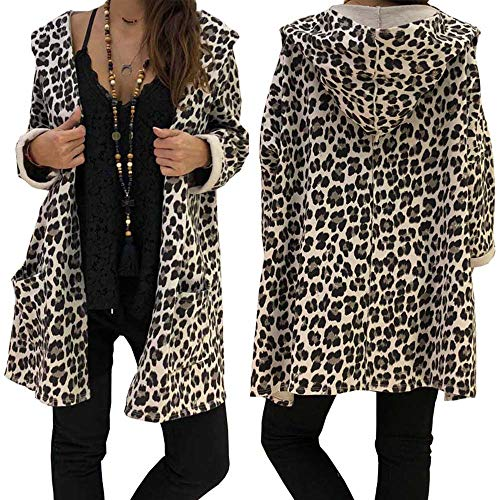 8531b1af69e8e DMZing Women Tops Blouse Coat Trench Sweatshirt Leopard Print Casual Pencil  Open Front Loose Tunic Long