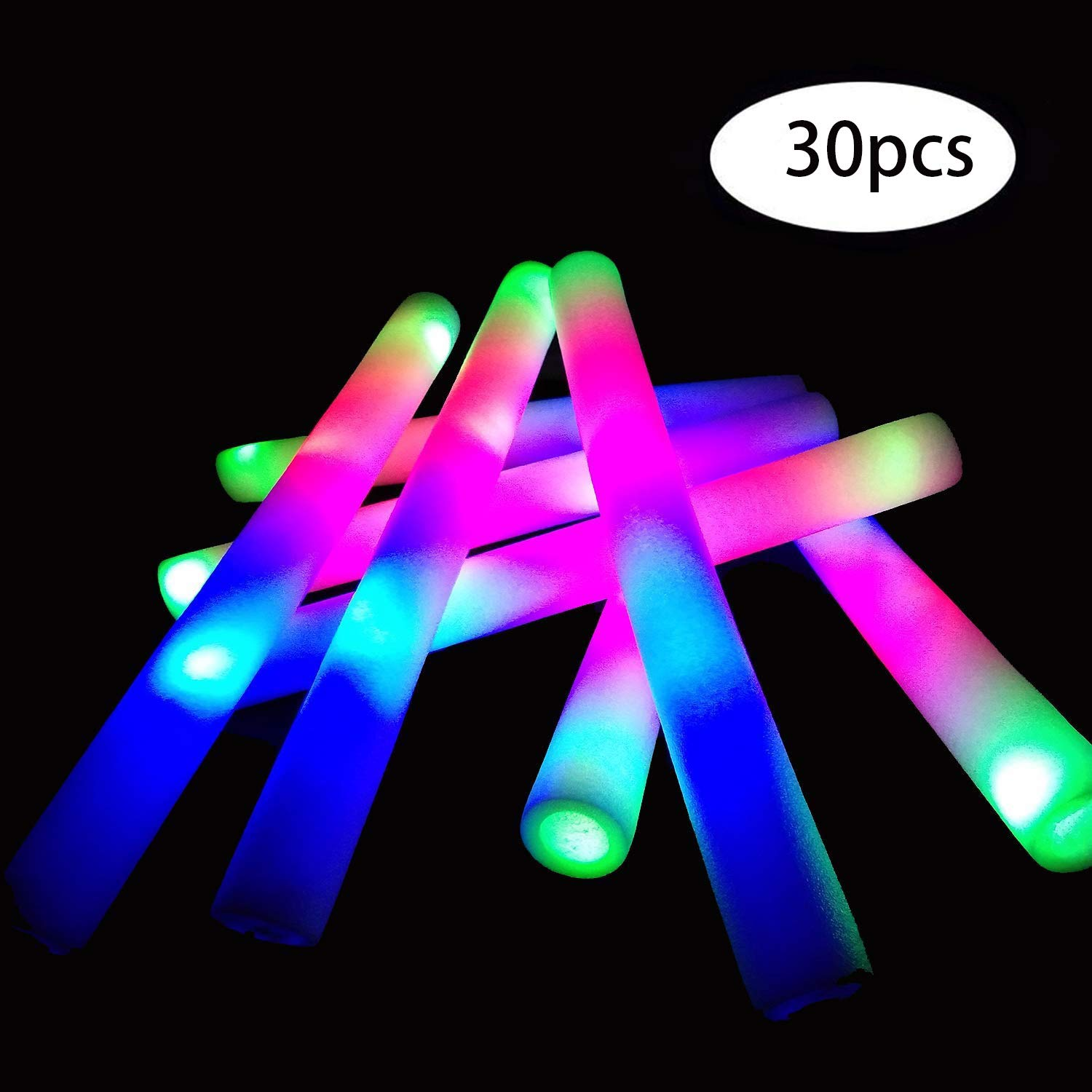 YanXi7 30 Pcs Glow Sticks, 16'' Multicolor LED Light Up Foam Sticks Baton Strobe with 3 Modes Color Changing Flashing, Light Up Toys for Party Favors Supplies Festivals Raves, Children Toy