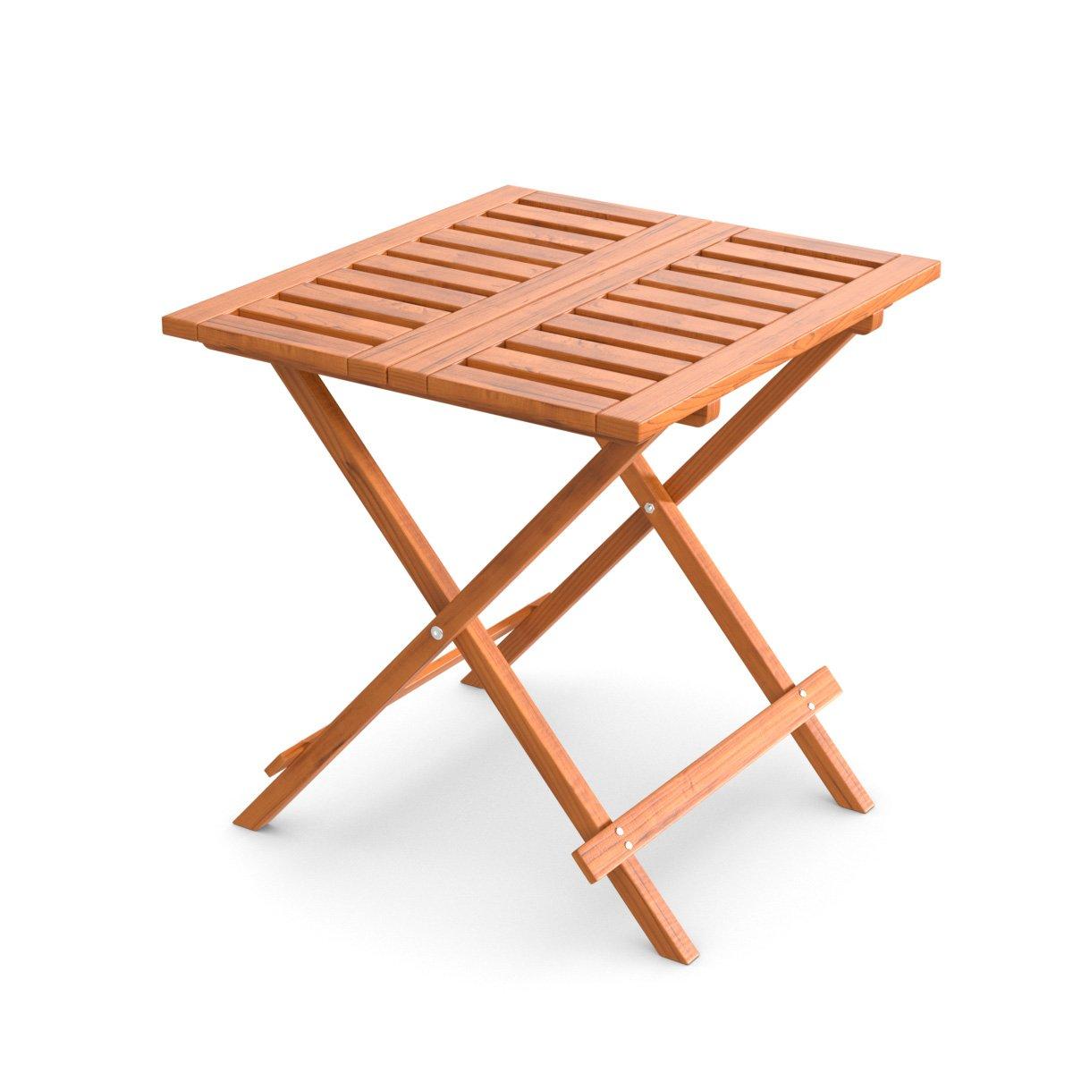 Ampel 24, Tavolino Pieghevole da Giardino, Balcone e terrazza   Tavolino d'appoggio Piccolo 50 x 50 cm   Tavolino da Giardino in larice Siberiano   Resistente
