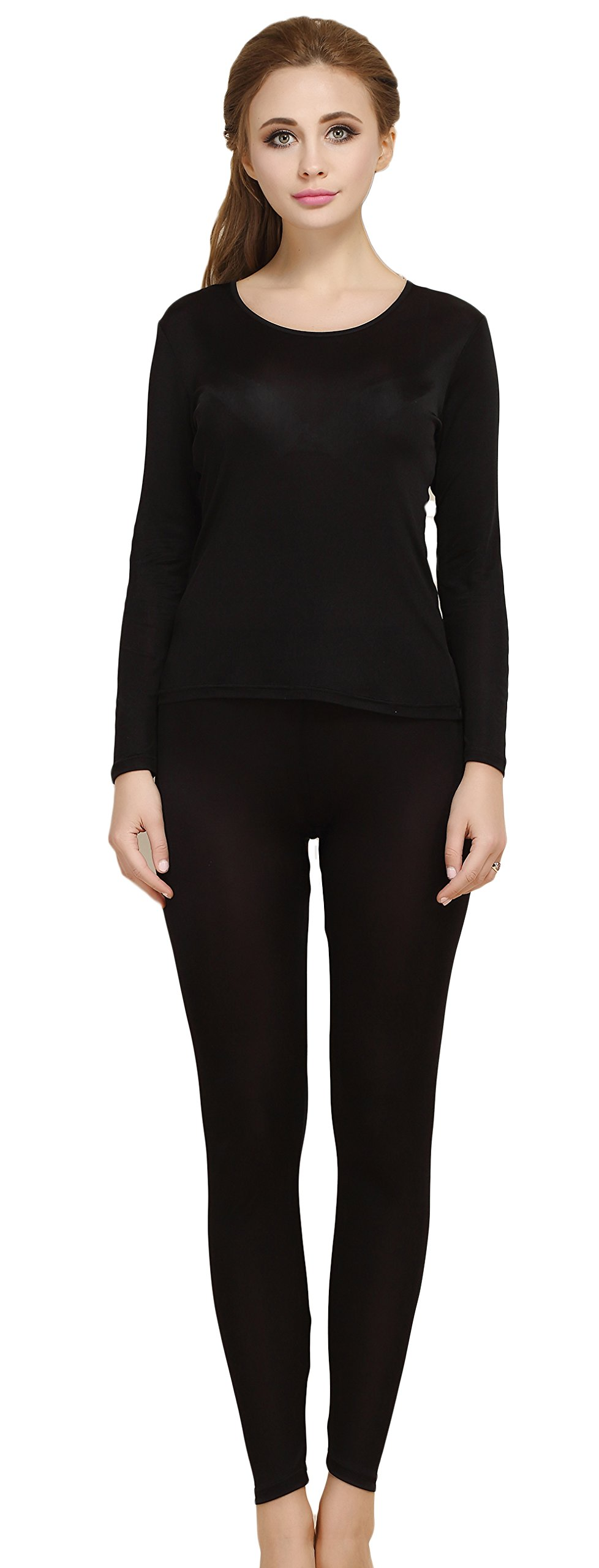 Women's Mulberry Silk Long Sleeve T-Shirt Pants Two Piece Black XL