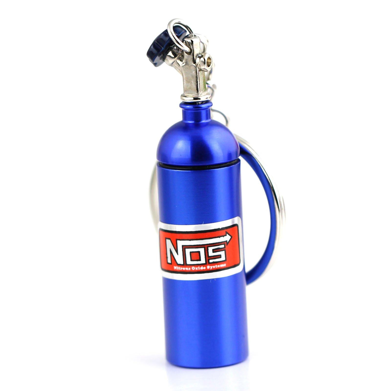 NOS Bottle Tank Nitrous Oxide Keyring Keyfob Keychain Metal Turbo Mini Pill Blue