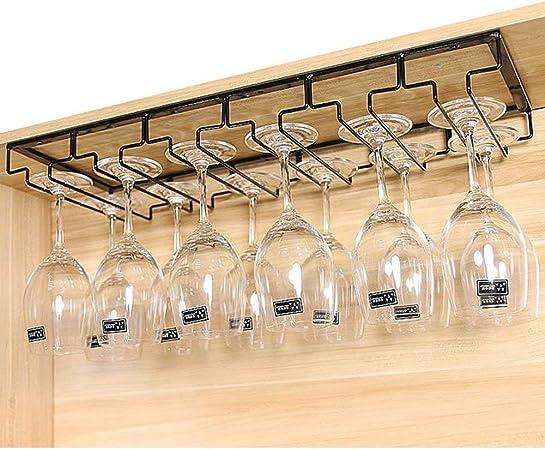 Soporte para Copas, Estante colgante para copas de vino de Metal con rieles 6, sostiene copas de vino y copas de cristal, 60 x 22.5 x 5.5cm (rieles 6): Amazon.es: Hogar