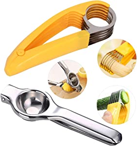 Sealive Lemon Juicer Squeezer Citrus Juicer Hand Press, Handheld Lime Orange Squeezers with a Banana Slicer, Stainless Steel Fruits Salad Peeler Cutter, Hand Held fruit Manual Juicers Tool Set