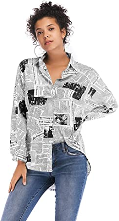 WODENINEK Americana Camisa De Mujer Impresión De Letras Patrón De Periodico Ocio Suelto Camisa De Manga Larga Blusa,Black,M: Amazon.es: Hogar