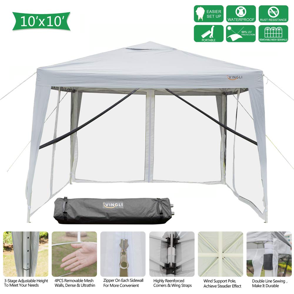 VINGLI 10x10ft Easy Pop Up Canopy Tent w/ 4 Removable Zippered Mesh Sidewalls & Portable Wheeled Carrying Bag, for Patio/Gazebo/Camping/Outdoor Activities, UV Coated Sun Shade Shelter, White by VINGLI